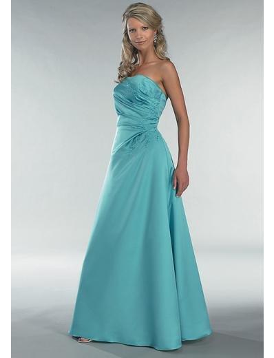 A-Line/Princess Strapless Chapel train Satin Bridesmaid Dress for brides new Style(BD0356)
