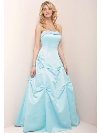 A-Line/Princess Strapless Chapel train Satin Bridesmaid Dress for brides new Style(BD0355)