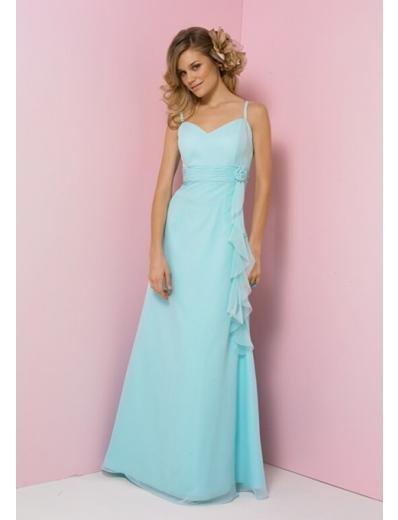 Column/Sheath Spaghetti straps Chapel Train Chiffon Bridesmaid Dress for brides new Style(BD0350)