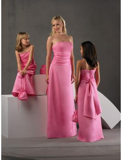 A-Line/Princess Strapless Floor-Length Satin Bridesmaid dress for brides new Style(BD0249)