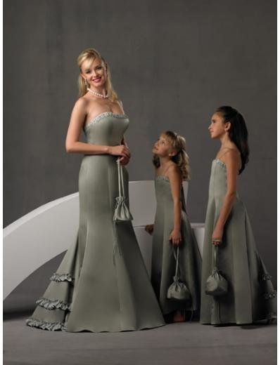 A-Line/Princess Strapless Floor-Length Satin Bridesmaid dress for brides new Style(BD0247)