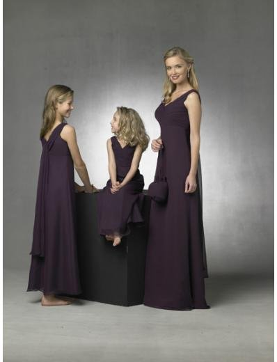 Empire V-neck Floor Length Chiffon Bridesmaid Dresses for brides new style(BD0272)