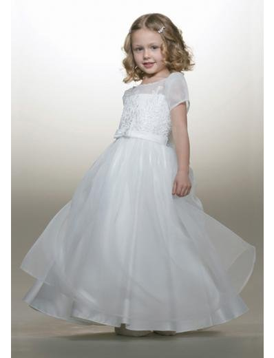 A-line Bateau Tea-Length Organza Flower Girl Dress NEW style(FGD0088)