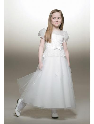 A-line Round-Neck Tea-Length Organza Flower Girl Dress 2010 style(FGD0089)