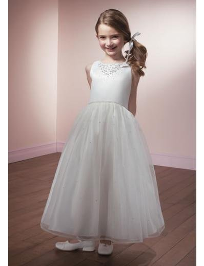 A-line Round-neck Knee-Length Organza Flower Girl Dress 2010 style(FGD0097)