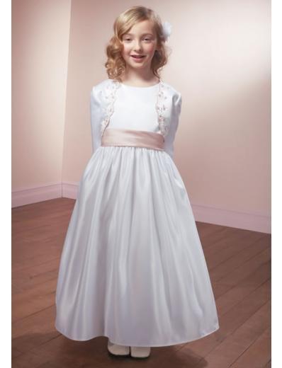 A-line Scoop Knee-Length Satin Flower Girl Dress 2010 style(FGD0101)