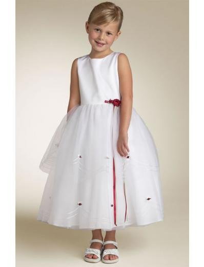 A-line Round-neck Knee-Length Organza Flower Girl Dress 2010 style(FGD0104)