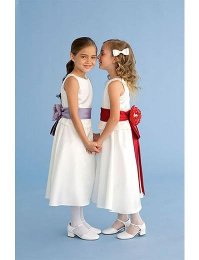 A-line Round-neck Knee-Length Satin Flower Girl Dress 2010 style(FGD0105)