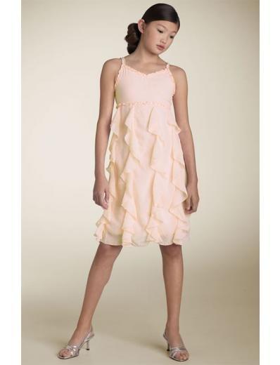 A-line Spagetti Straps Tea-Length Chiffon Flower Girl Dress 2010 style(FGD0106)