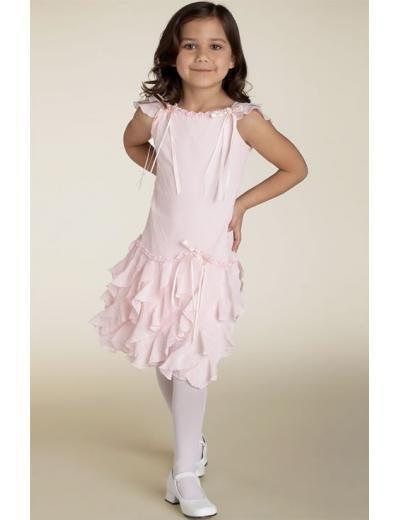 A-line Round-Neck Tea-Length Chiffon Flower Girl Dress 2010 style(FGD0107)