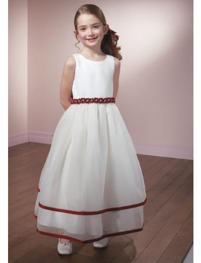 A-line Scoop Knee-Length Organza Flower Girl Dress 2010 style(FGD0099)