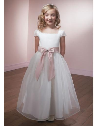 A-line Square Knee-Length Organza Flower Girl Dress 2010 style(FGD0098)