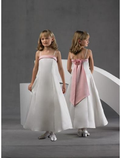 A-line Spaghetti Straps Tea-length Satin Flower girls Dress 2010 style(FGD0053)