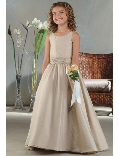 A-Line Round-neck Floor- Length Satin Flower girls Dress 2010 Style(FGD0010)