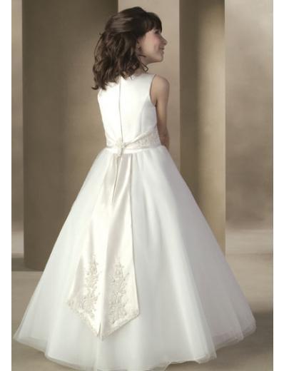 A-Line Round-neck Floor- Length Organza Flower girls Dress 2010 Style(FGD0007)