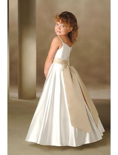 -Line Spaghetti Straps Floor- Length Satin Flower girls Dress 2010 Style(FGD0005)
