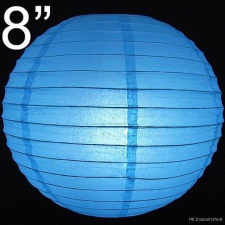 100 pcs WHOLESALE LOTS 8'' Blue Paper Lantern Lamp Birthday Holiday Wedding Party Supplies