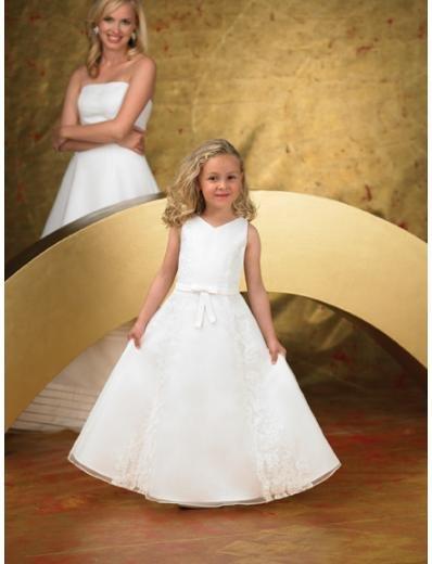 A-line V-neck Floor Length Satin Flower girls Dress 2010 style(FGD0056)