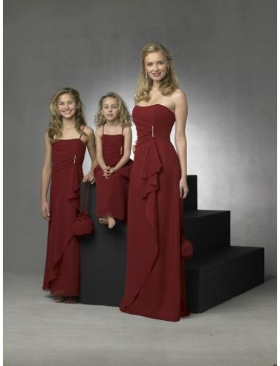 Column/Sheath Strapless Floor Length Chiffon Bridesmaid Dresses for brides new style(BD0275)