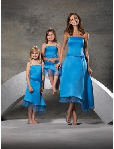 A-Line/Princess Strapless Tea-length Satin Bridesmaid dress for brides new Style(BD0242)