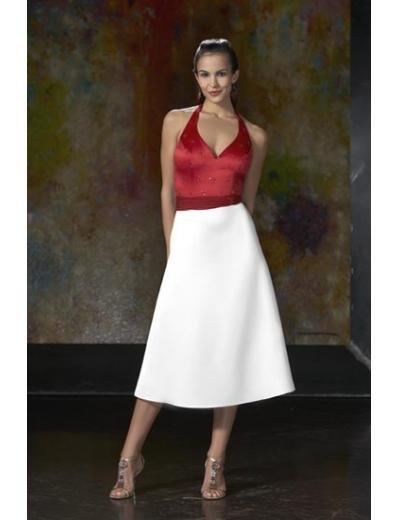 A-Line/Princess Halter Top Tea-length Satin Bridesmaid dress for brides new Style(BD0058)