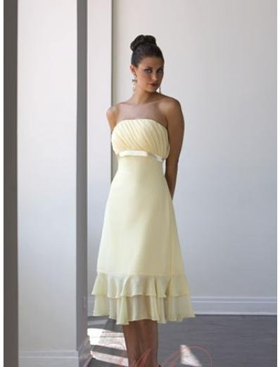 A-Line/Princess Strapless Knee-Length Chiffon Bridesmaid dress for brides new Style(BD0023)