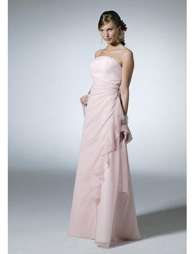 A-Line/Princess Strapless Floor Length Chiffon Bridesmaid Dresses for brides new style(BD0105)