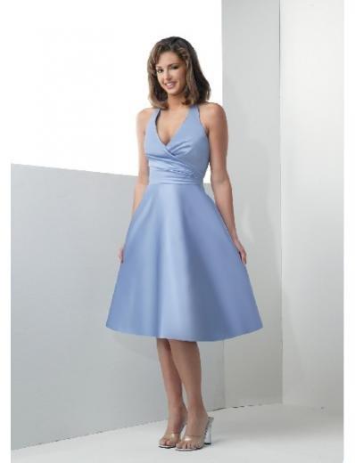 A-Line/Princess Halter top Knee-length Satin Bridesmaid Dresses for brides new Style(BD0184)