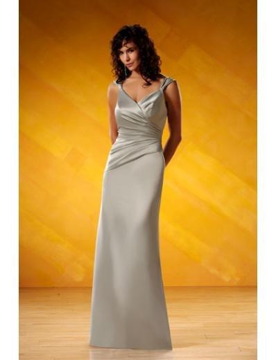 A-Line/Princess V-neck Floor-Length Satin Bridesmaid dress for brides new Style(BD0066)