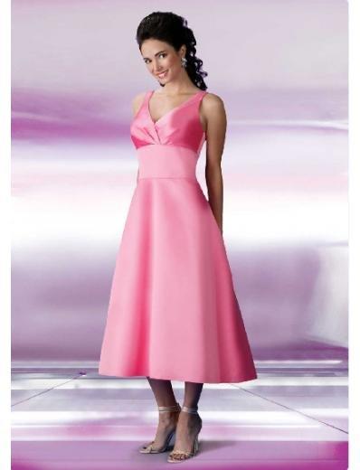 A-Line/Princess V-neck Tea-length Satin Bridesmaid Dresses for brides new style(BD0112)