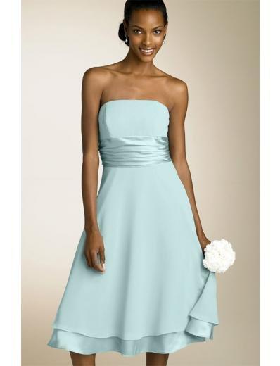 A-Line/Princess Strapless knee-length Satin Bridesmaid Dresses for brides new style(BDS0003)