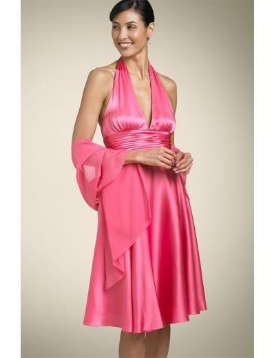 A-Line/Princess Halter Top Knee-Length Satin Bridesmaid dress for brides new Style(BDS0042)