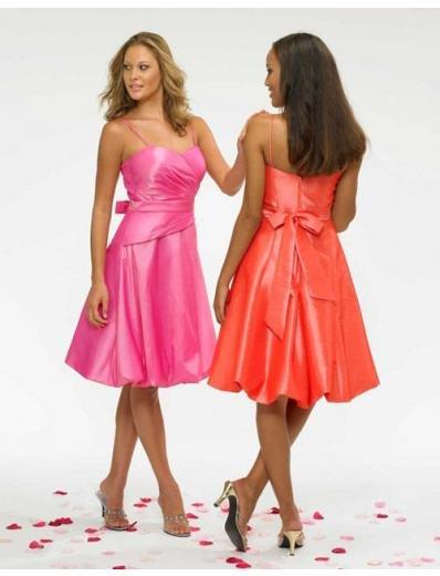 A-Line/Princess Spaghetti Straps knee-length Satin Bridesmaid Dresses for brides new style(BDS0001)