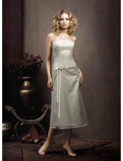 Column/Sheath spaghetti straps Tea Length Chiffon Bridesmaid Dresses for brides new style(BDS0043)