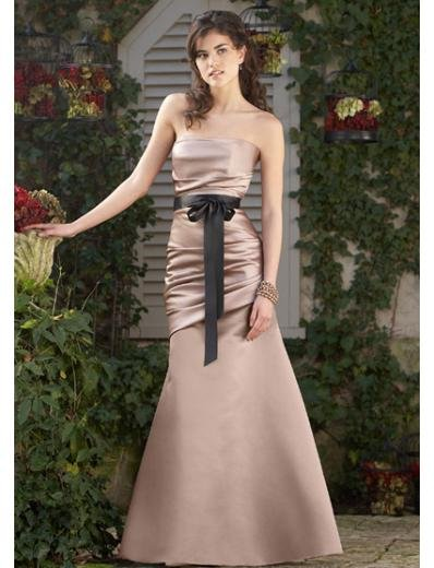 A-Line/Princess Strapless Floor-Length Satin Bridesmaid dress for brides new Style(BDS0026)