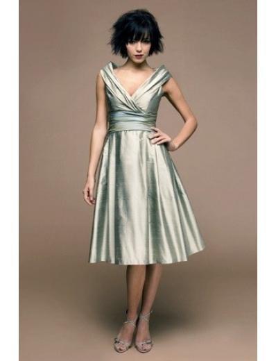 A-Line/Princess Strapless Tea-length Taffeta Bridesmaid dress for brides new Style(BDS0025)