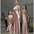 Empire V-neck Floor Length Satin Bridesmaid Dresses for brides new style(BD0296)