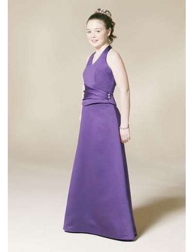A-Line/Princess Halter Top Floor Length Satin Bridesmaid dress for brides new Style(BD0338)