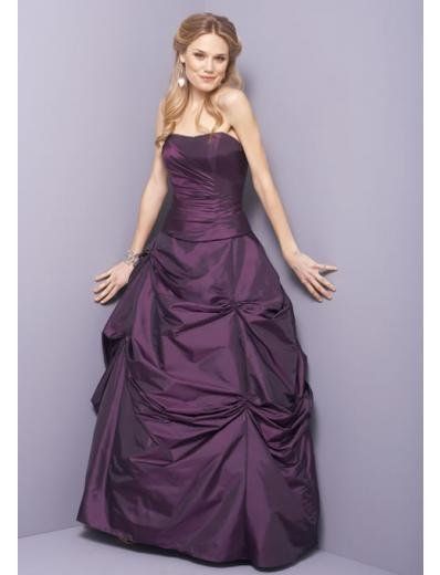 A-Line/Princess Strapless Floor Length Taffeta Bridesmaid dress for brides new Style(BD0332)