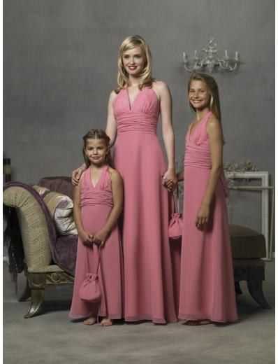 Empire Halter Top Floor Length Chiffon Bridesmaid Dresses for brides new style(BD0295)