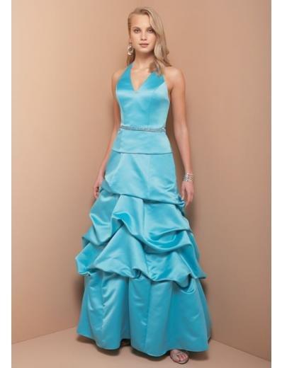 A-Line/Princess Halter Top Floor Length Taffeta Bridesmaid dress for brides new Style(BD0329)