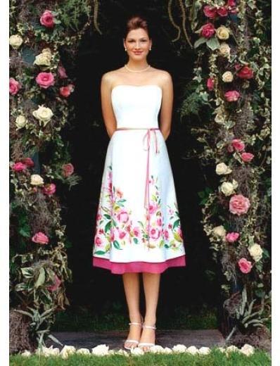 A-Line/Princess Strapless Tea-length Satin Bridesmaid dress for brides new Style(BDS0021)