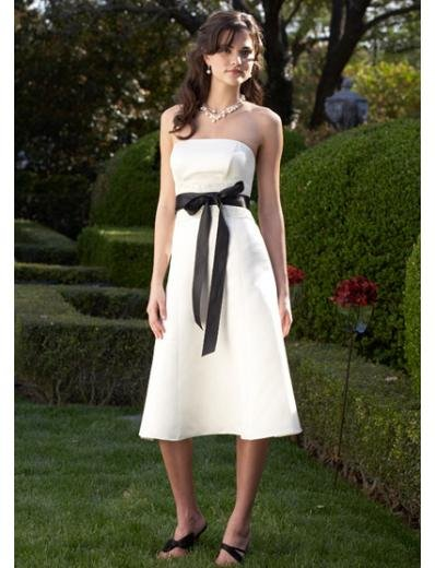 A-Line/Princess Strapless knee-length Satin Bridesmaid Dresses for brides new style(BDS0013)