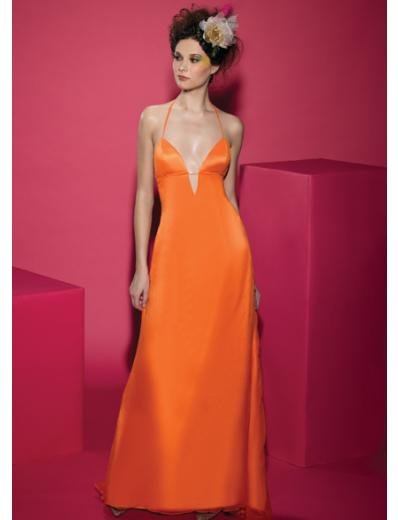 A-Line/Princess Halter Top Floor-Length Satin Bridesmaid dress for brides new Style(BDS0036)