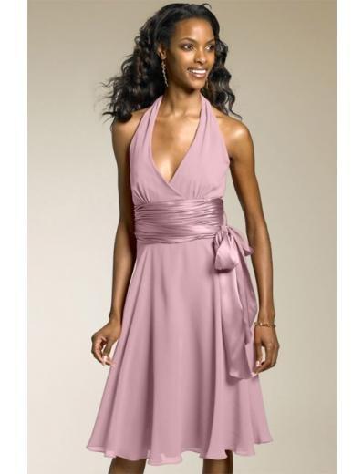 A-Line/Princess Halter Top knee-length Chiffon Bridesmaid Dresses for brides new style(BDS0018)