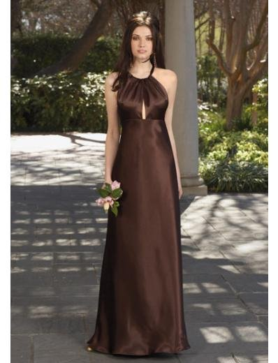 A-Line/Princess Halter Top Floor-Length Satin Bridesmaid dress for brides new Style(BDS0059)