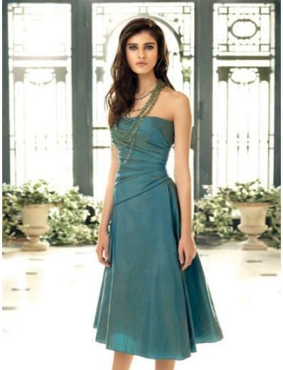 A-Line/Princess Strapless Tea-length Satin Bridesmaid dress for brides new Style(BDS0058)