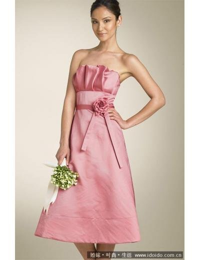 A-Line/Princess Strapless knee-length Satin Bridesmaid Dresses for brides new style(BDS0020)