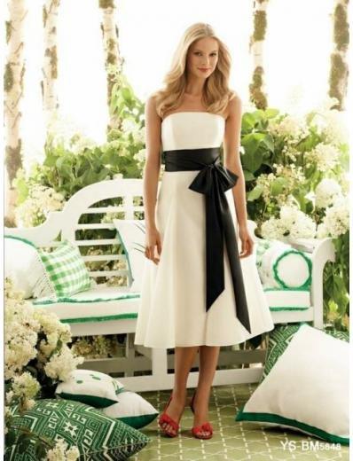 A-Line/Princess Strapless Tea-length Satin Bridesmaid Dresses for brides new style(BDS0046)