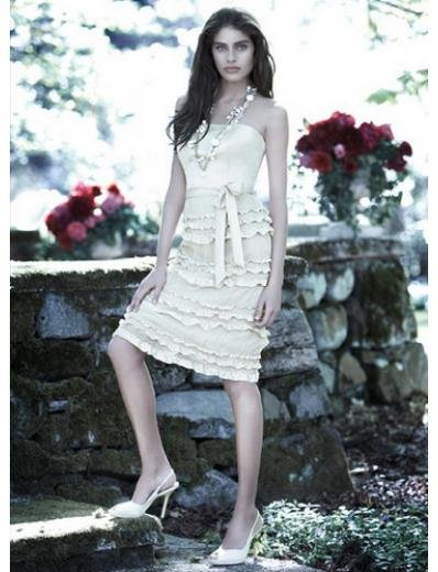 Column/Sheath Strapless Tea Length Satin Bridesmaid Dresses for brides new style(BDS0053)